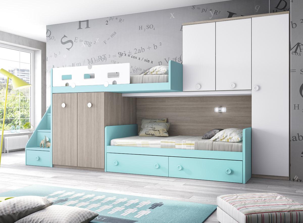 Dormitorio juvenil con cama tren serie formas color acera lago y blanco muebles sipo - Cama tipo tren ...