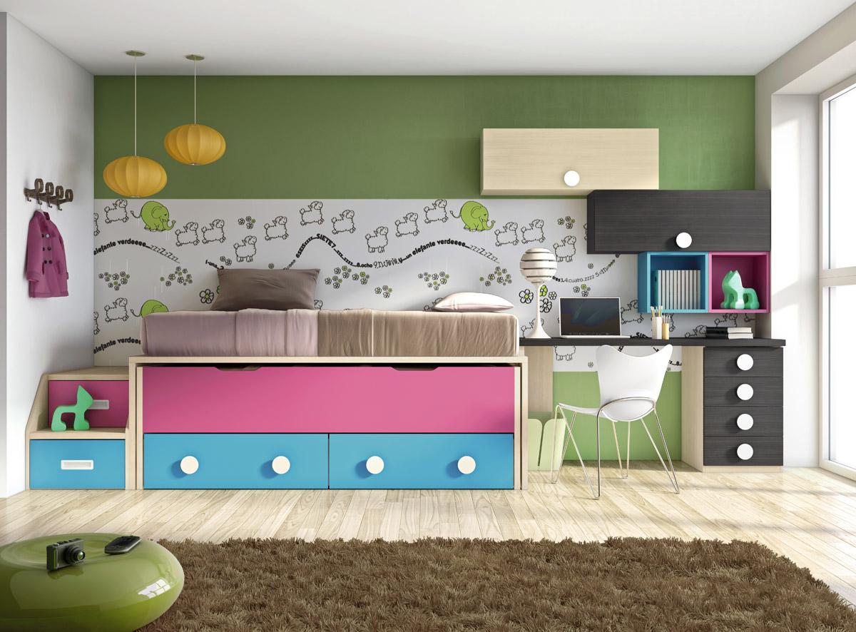 Dormitorio juvenil con compacto serie formas muebles sipo for Dormitorio juvenil 2 camas
