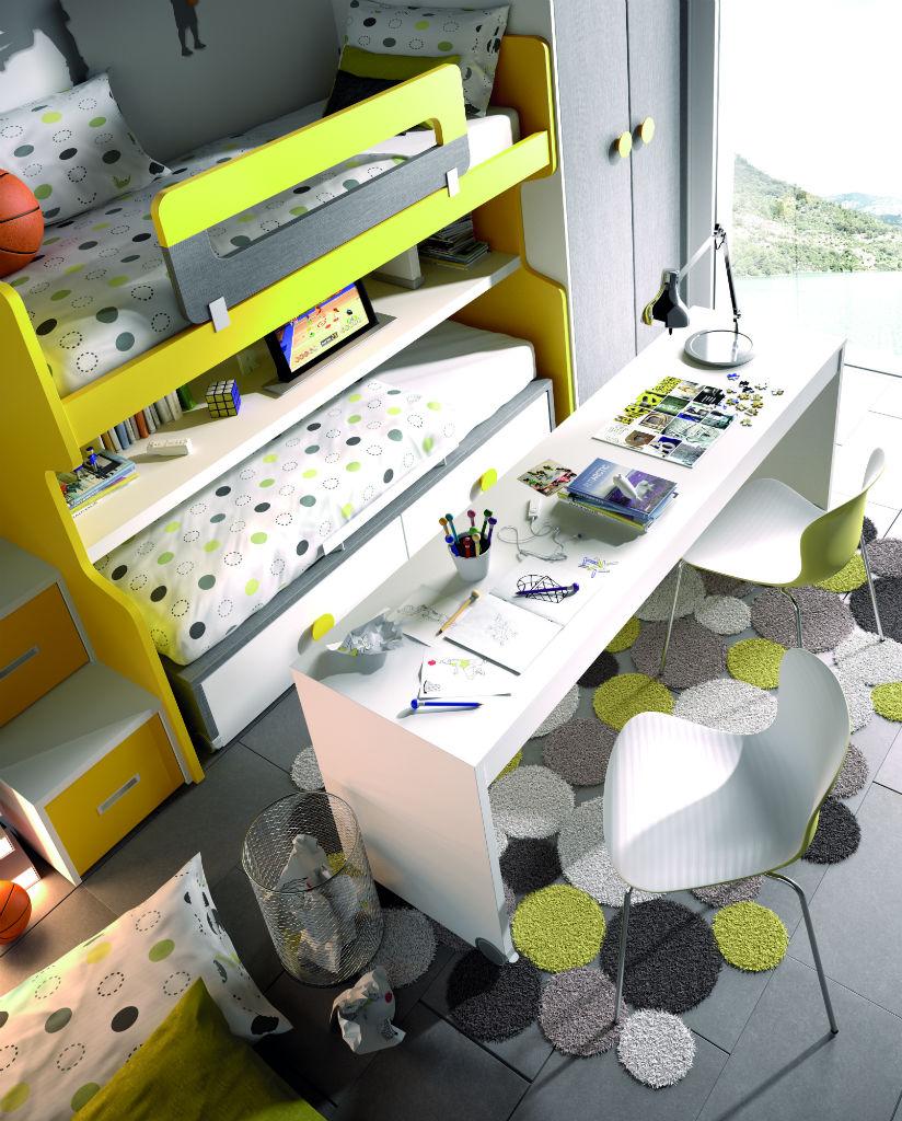 Dormitorio Juvenil Con Litera Color Blanco Amarillo Y Pizarra  # Muebles Pizarra