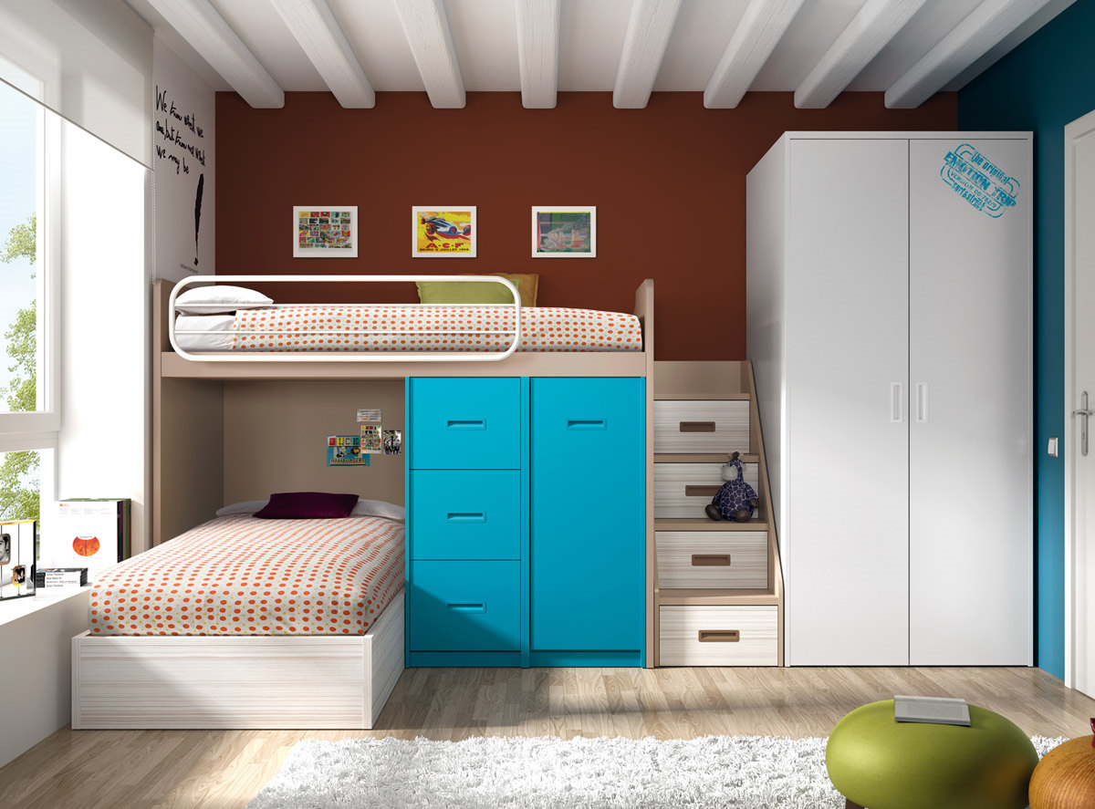 Dormitorio juvenil con litera serie formas color blanco for Dormitorios juveniles literas