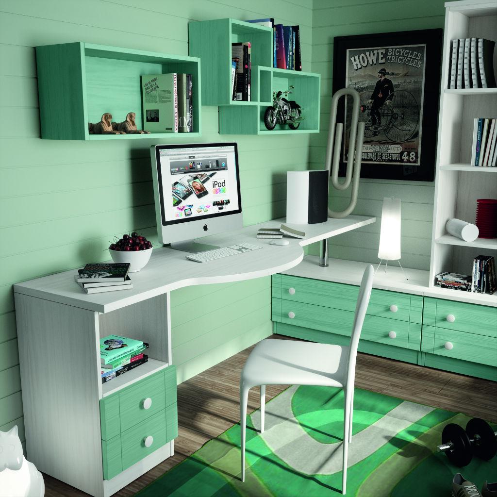 Dormitorio juvenil con cama nido color blanco decape y for Conjunto dormitorio juvenil