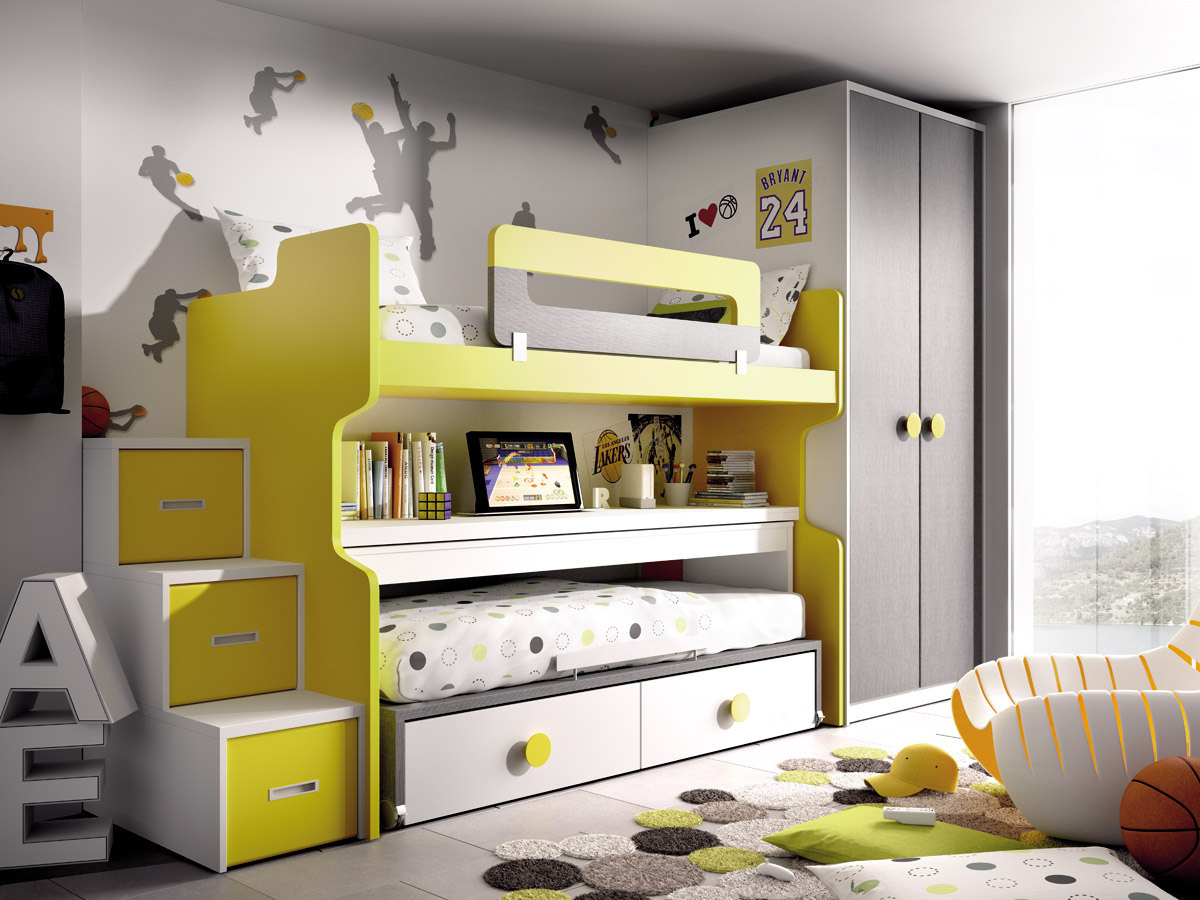 Dormitorio juvenil con litera color blanco amarillo y for Muebles de dormitorio infantil