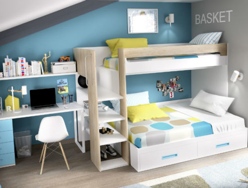 dormitorio juvenil con litera serie open color natural seda y turquesa