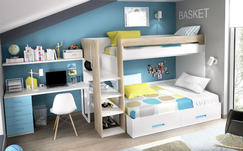 Dormitorio juvenil con litera serie open color natural seda y turquesa muebles sipo - Habitacion con litera ...