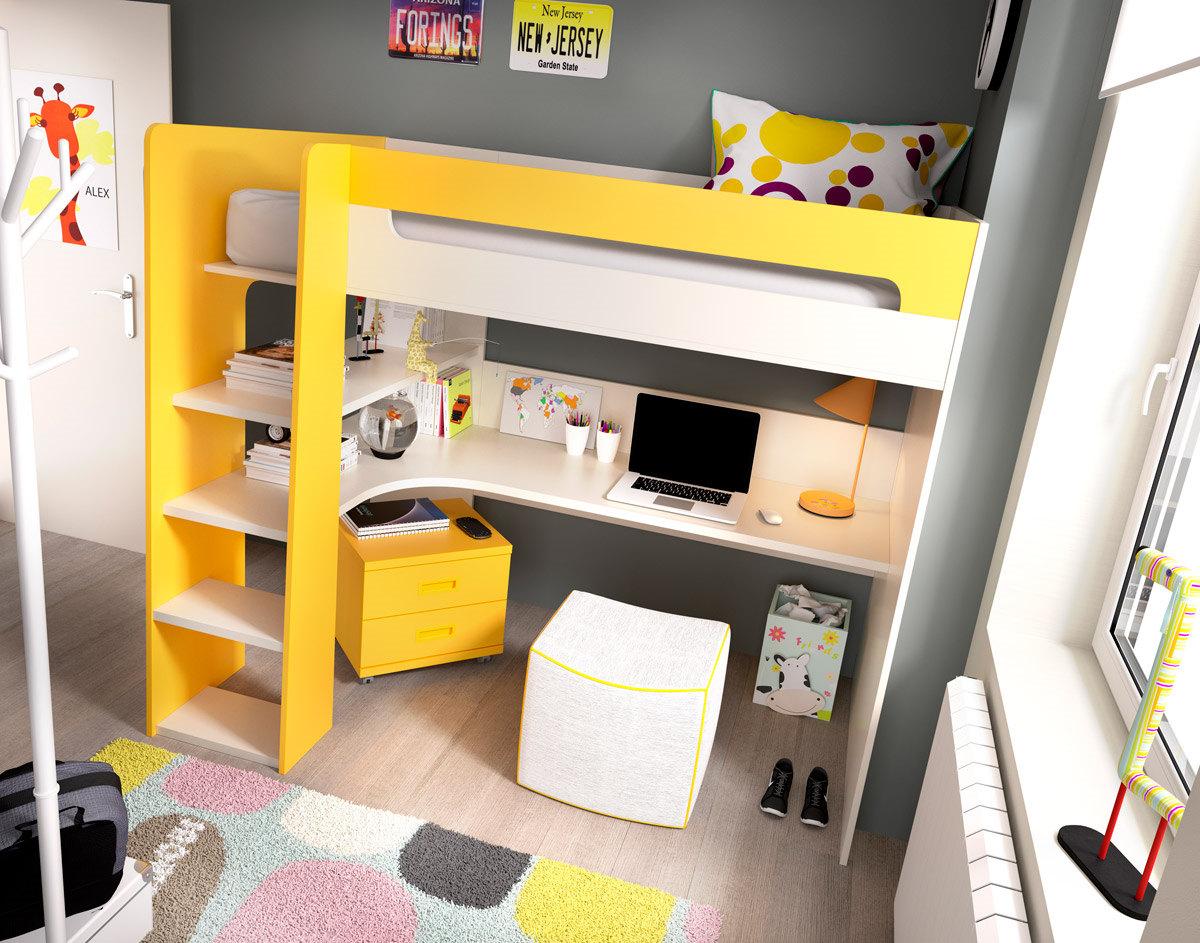 Dormitorio Juvenil Con Litera Serie Open Color Arena Y Mostaza  # Muebles Color Mostaza