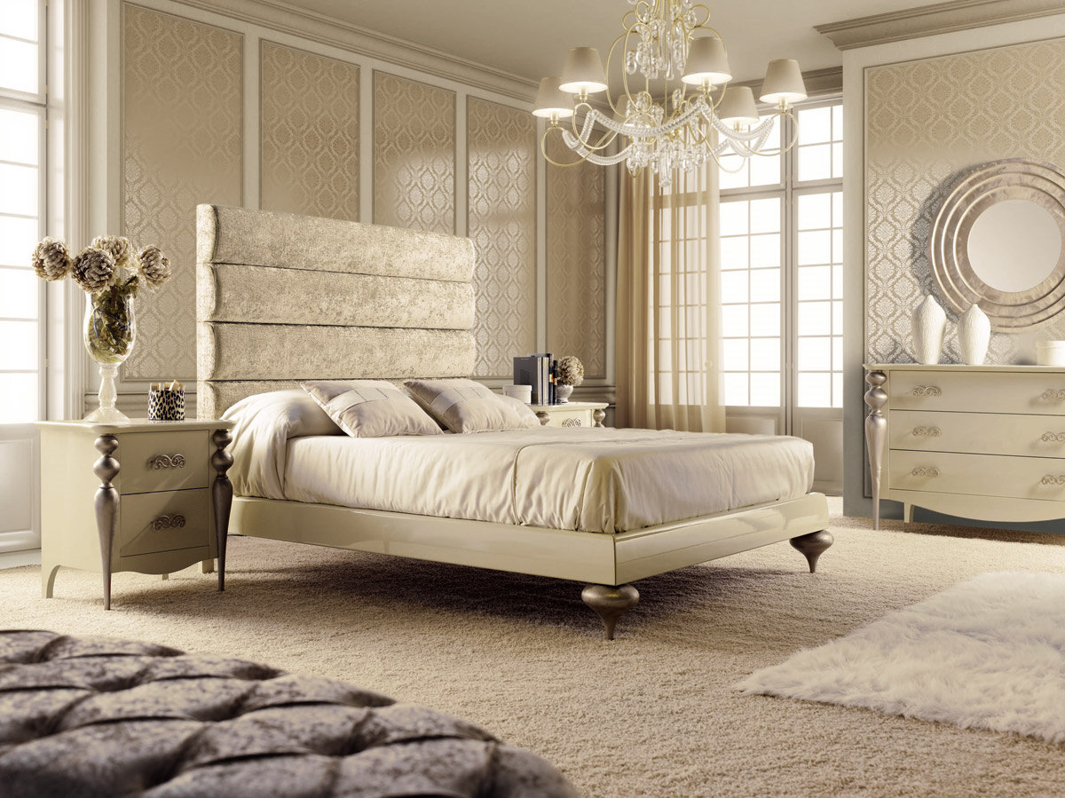 Dormitorio De Matrimonio Serie Pasion Lacado Beige Y Patas En Oro  # Muebles Dormitorios