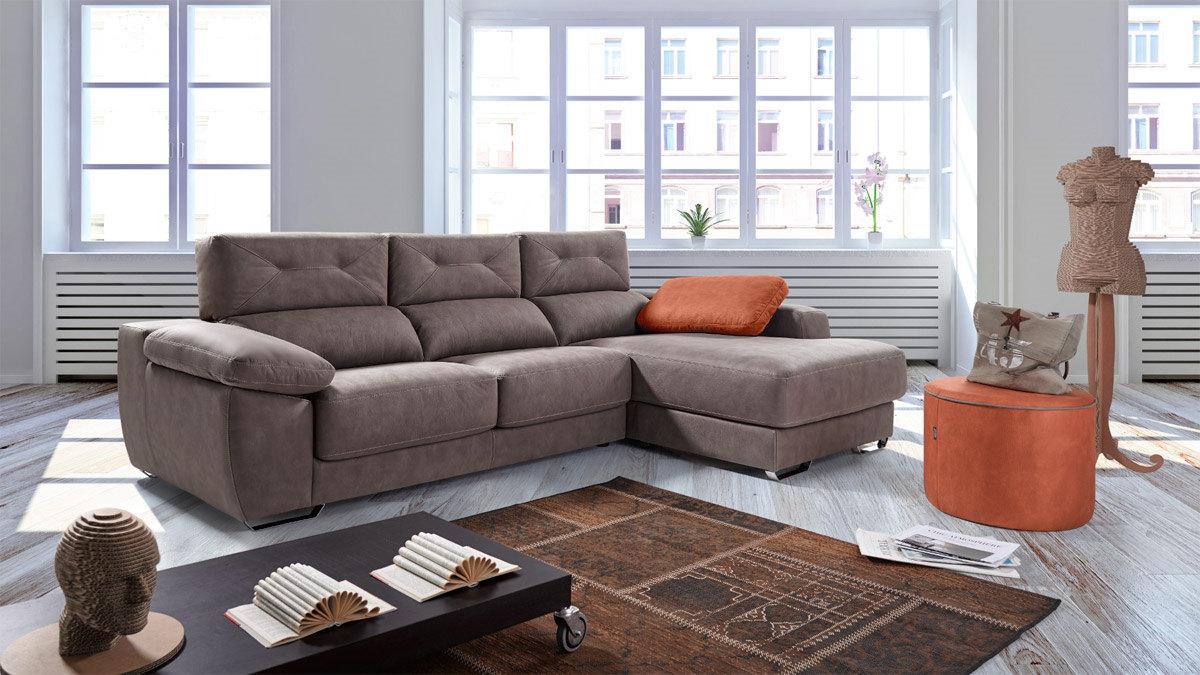 Sofa con chaiselongue con asiento viscoelastico mod for Sofas pedro ortiz yecla