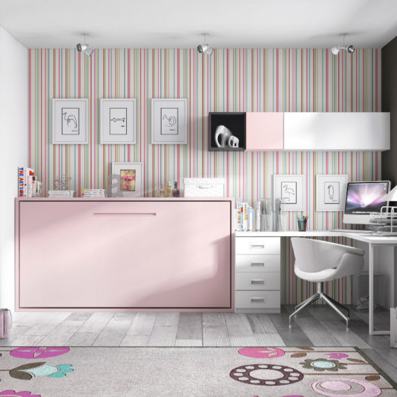 dormitorio juvenil con cama abatible serie formas color blanco rosa y pizarra