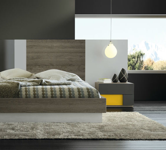 Dormitorio matrimonio lacado blanco con cabecero tapizado for Dormitorios de matrimonio modernos 2016