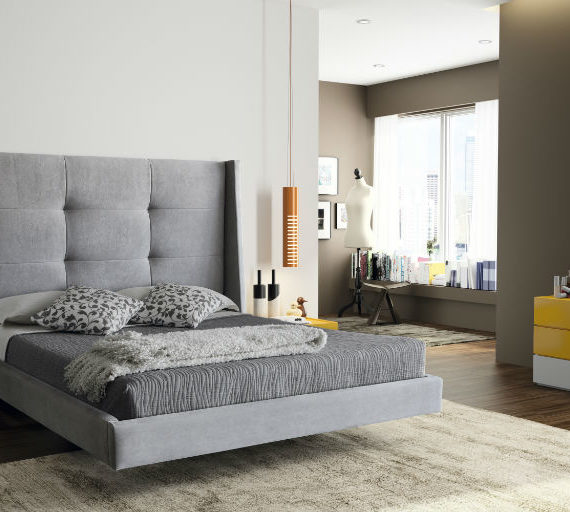 dormitorio de matrimonio serie eos lacado en blanco y mostaza