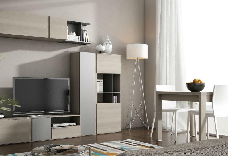 Muebles sipo salon serie enzo en chapa natural de roble en color beige con patas metalizas en - Muebles de chapa ...