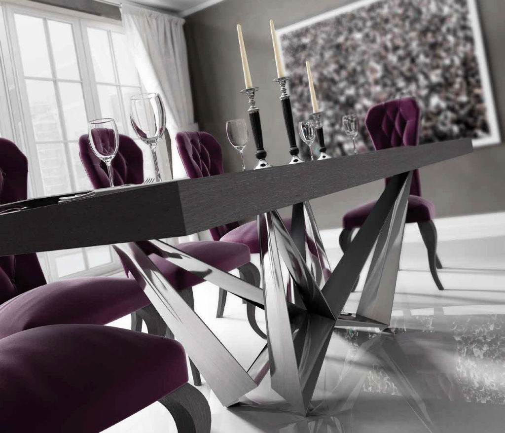 Mesa comedor con sillas serie enzo en chapa de roble gris for Sillas comedor patas metalicas