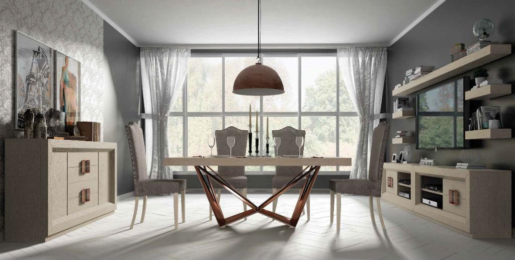 Salon serie enzo en chapa natural de roble en color beige for Muebles salon con patas