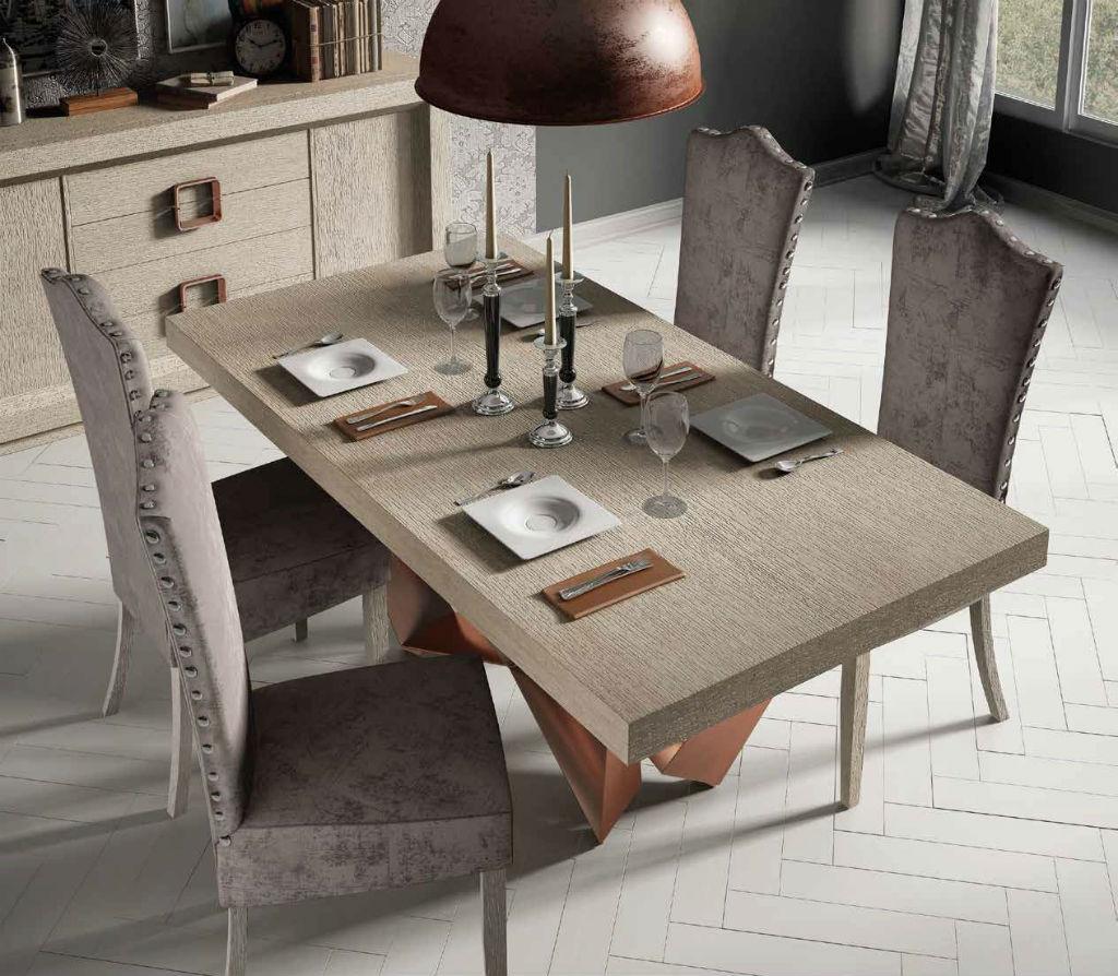 Salon serie enzo en chapa natural de roble en color beige for Muebles franco