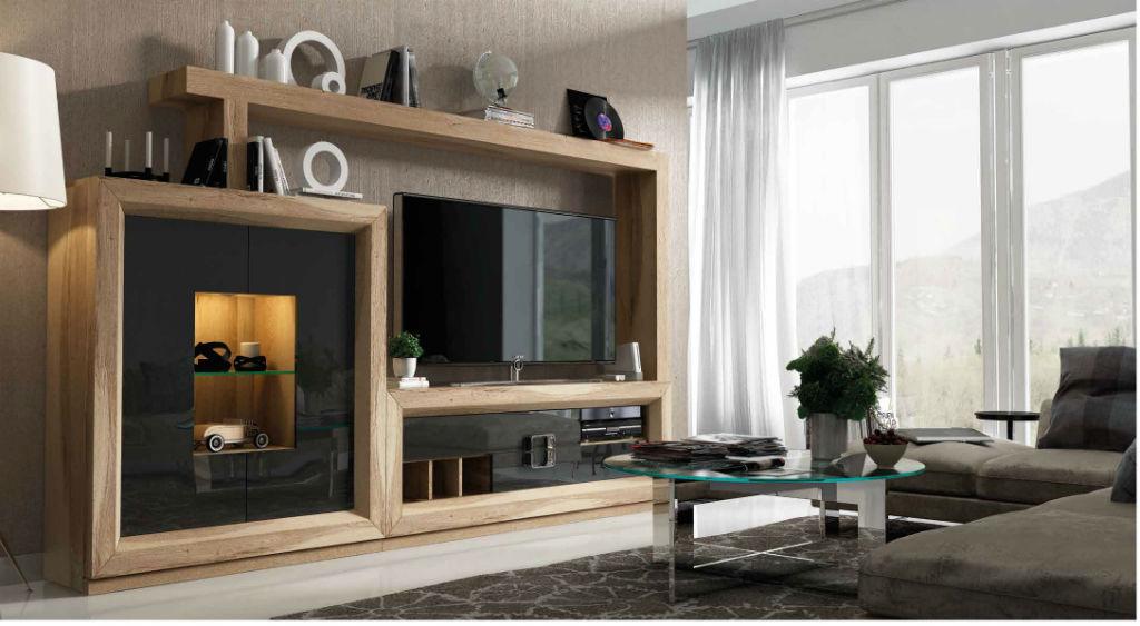 Salon serie enzo en chapa de roble y lacado gris muebles sipo - Modelos de muebles de salon ...