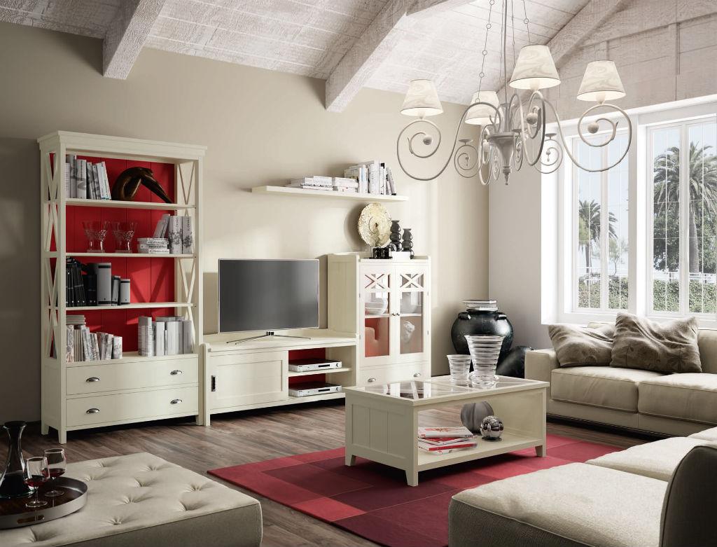 Salon Acabado En Lino Y Traseras En Frambuesa Serie Verona  # Muebles Seys Verona