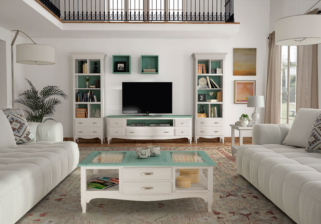 Salon en color blanco decape con tapas y traseras en verde for Muebles de comedor rusticos