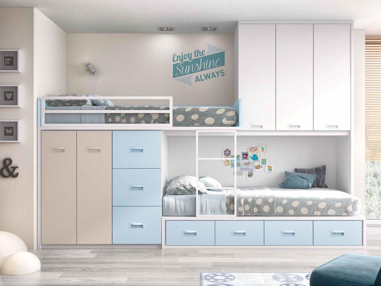 Dormitorio juvenil cama tren serie formas en color blanco for Dormitorio juvenil cama alta