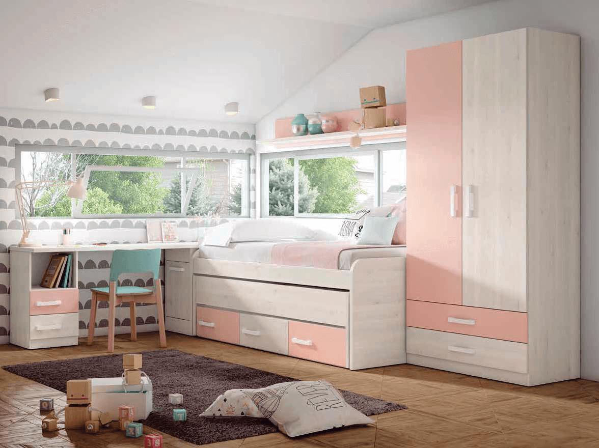 Dormitorio juvenil color blanco nordic y rosa nube for Dormitorio juvenil compacto