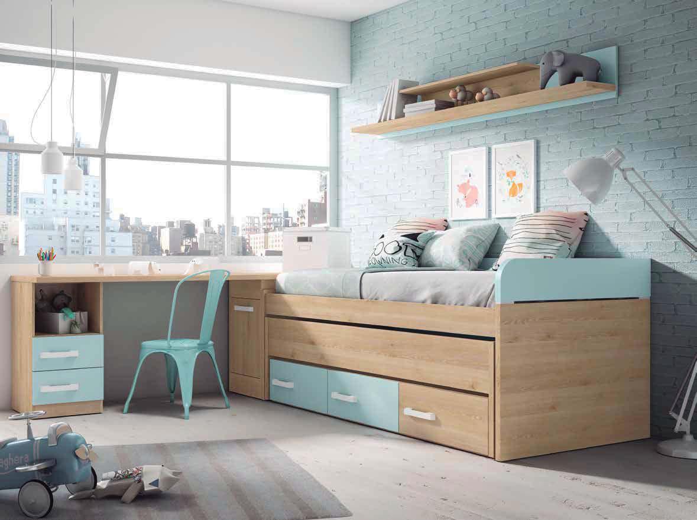 Dormitorio juvenil color pino danes y azul nube muebles sipo - Modelos de dormitorios juveniles ...