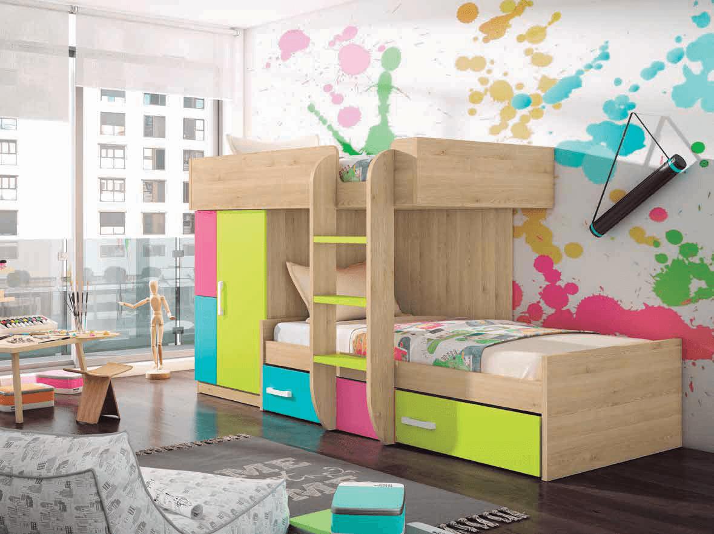 Dormitorio Juvenil Color Pino Dan S Lima Turquesa Y Fucsia  # Muebles Turquesa