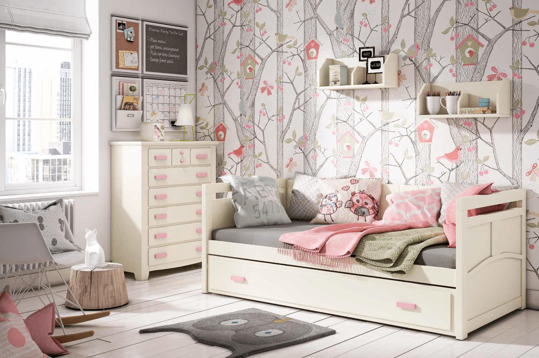 Dormitorio juvenil color blanco con tiradores color rosa for Muebles dormitorio juveniles