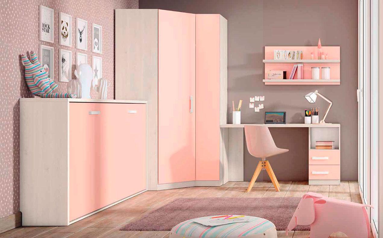 Dormitorio juvenil color blanco nordic y rosa nube for Dormitorio rosa