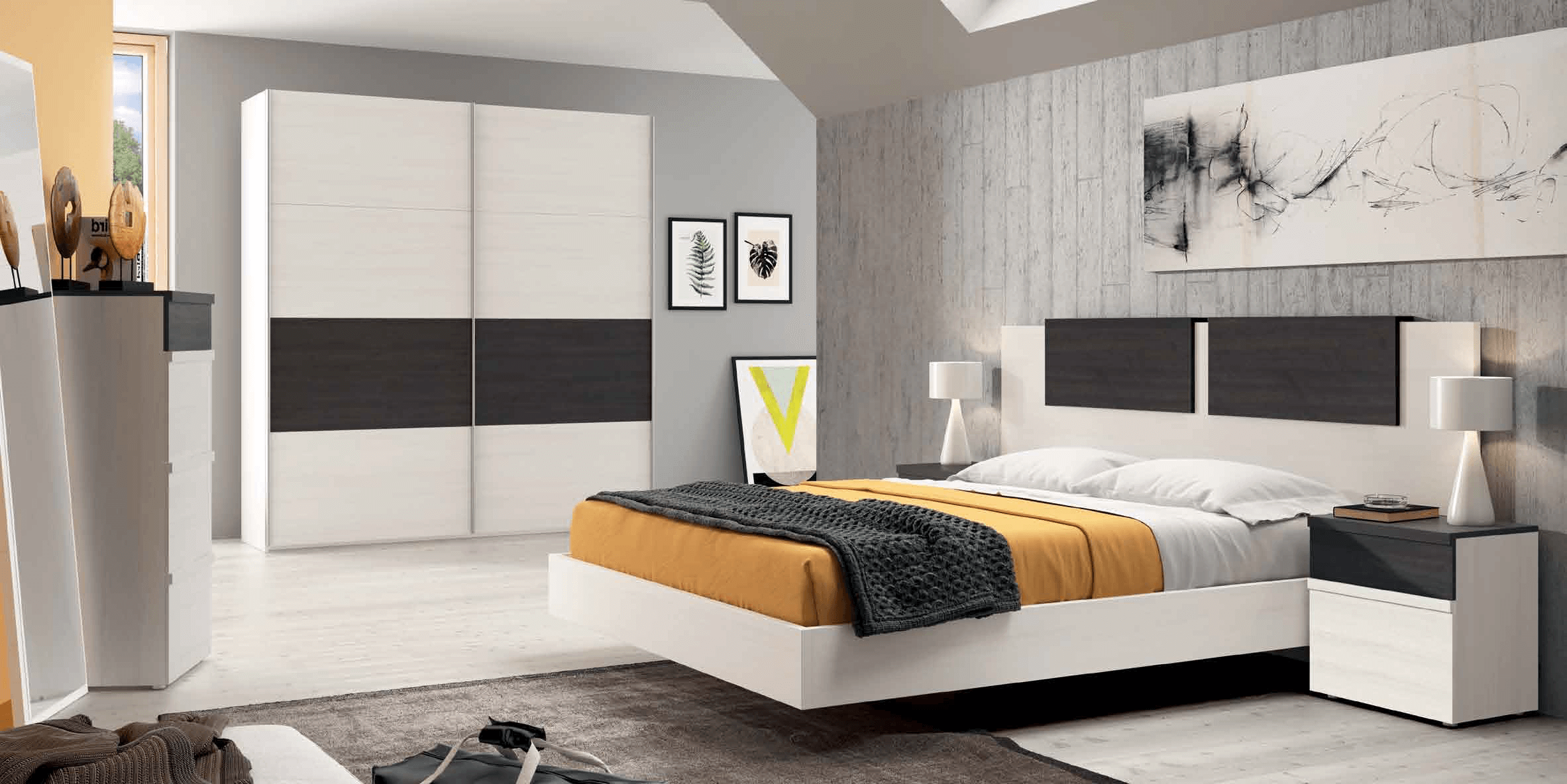 Dormitorio matrimonio color polar y detalles en azabache for Ver dormitorios modernos