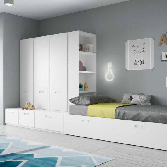 Dormitorio juvenil con cama abatible serie formas color for Formas muebles juveniles