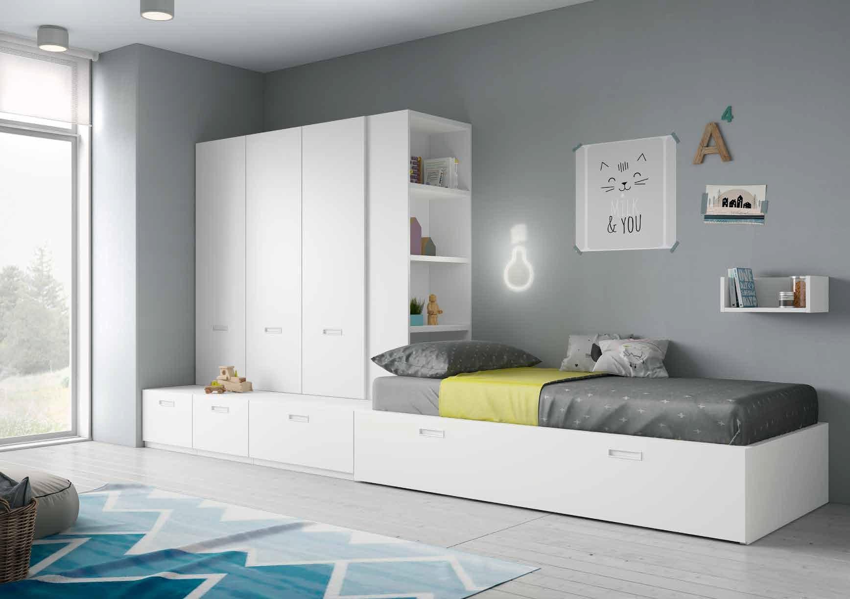 Dormitorio juvenil en color blanco muebles sipo for Muebles zapateros juveniles