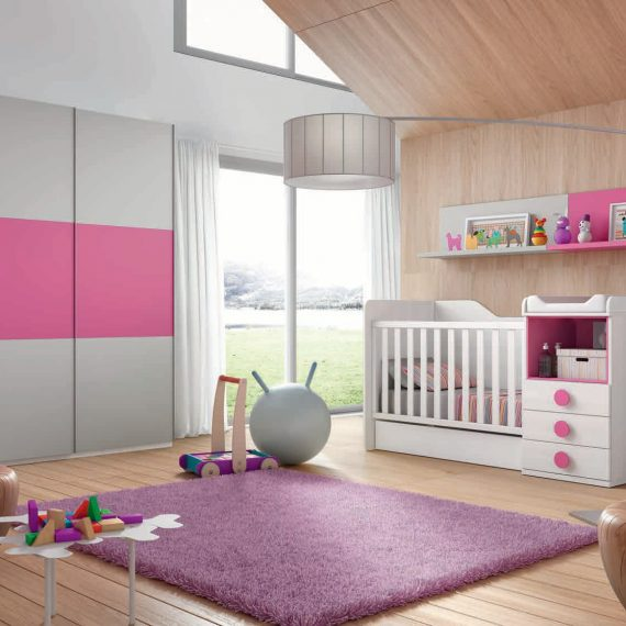Dormitorio infantil en color fresno y rosa muebles sipo for Muebles chaves