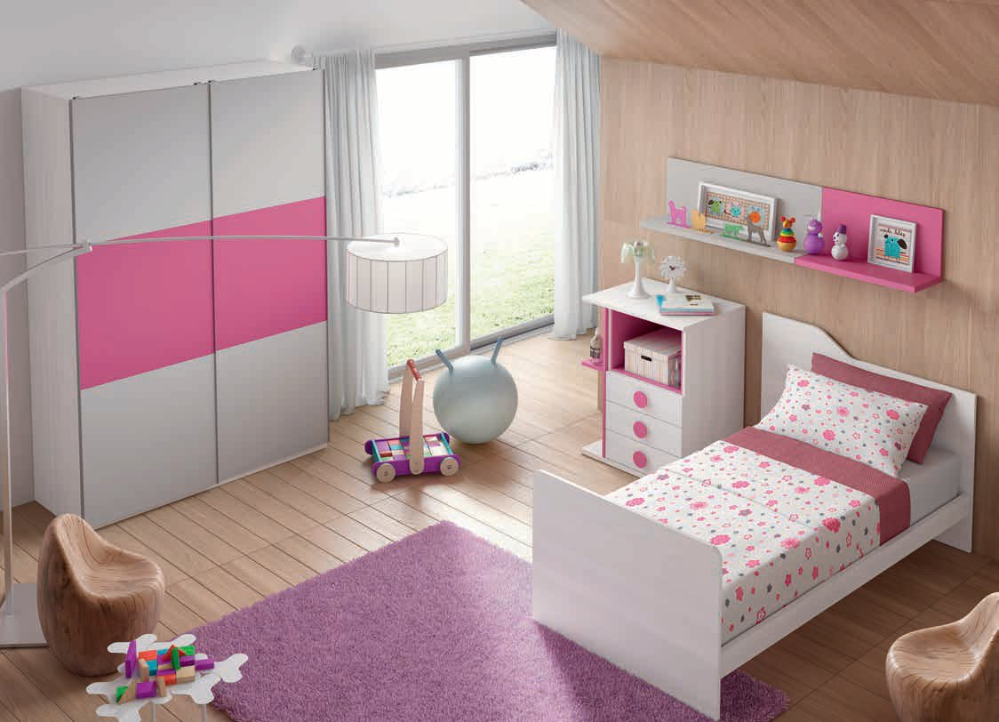 Dormitorio infantil en color fresno fucsia y gris for Muebles chaves
